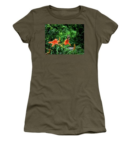 Butterfly And Canna Lilies Women's T-Shirt (Junior Cut) by Cathy Harper