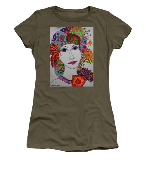 Women's T-Shirt (Junior Cut) featuring the painting Butterfly Girl by Alison Caltrider