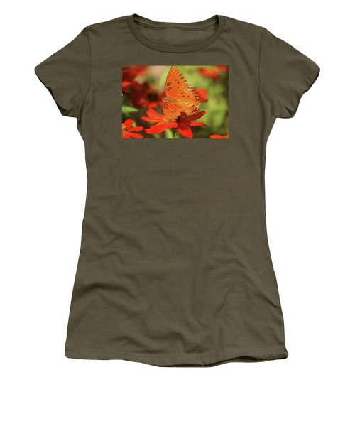 Butterfly On Flower Women's T-Shirt (Athletic Fit)