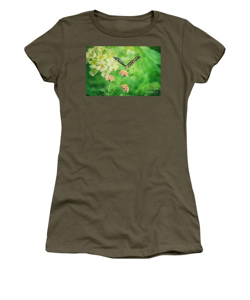 Butterfly On Lantana Montage Women's T-Shirt (Junior Cut) by Toma Caul