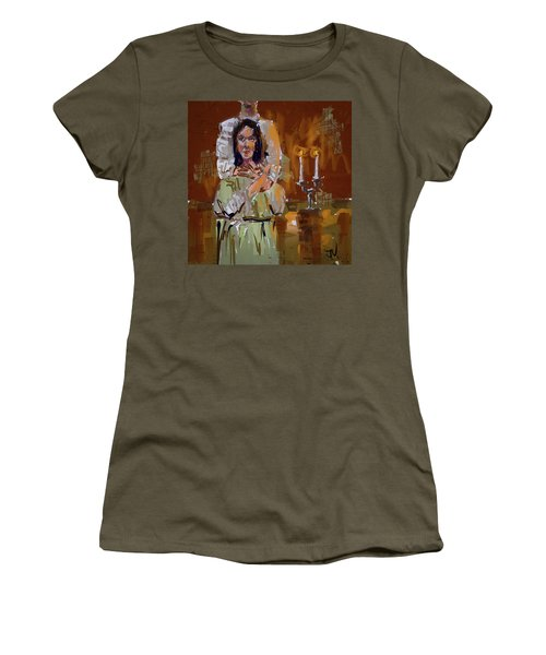 Women's T-Shirt (Athletic Fit) featuring the digital art By Candle Light by Jim Vance