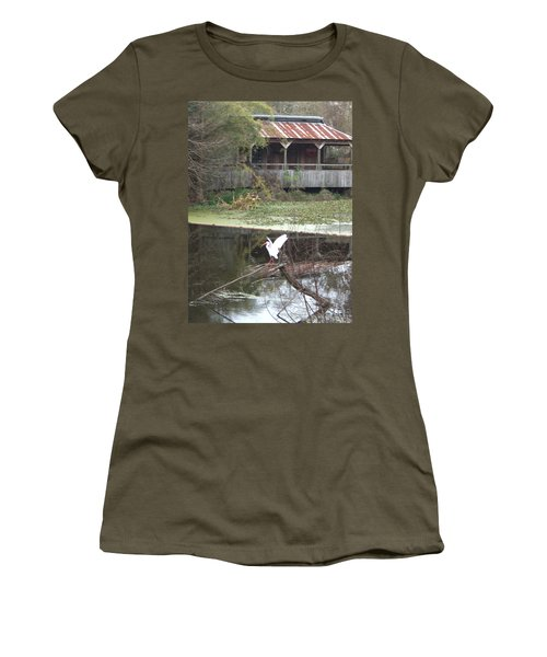 Cabin On The Bayou Women's T-Shirt (Athletic Fit)