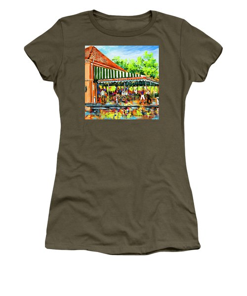 Women's T-Shirt (Junior Cut) featuring the painting Cafe Du Monde Lights by Dianne Parks