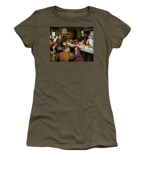 Women's T-Shirt (Junior Cut) featuring the photograph Cafe - Temptations 1915 by Mike Savad