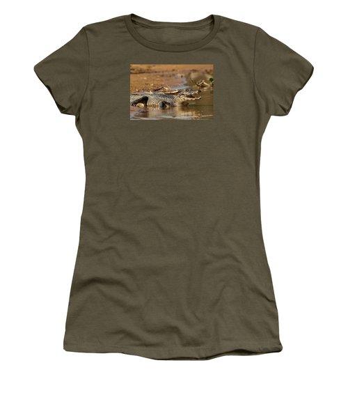 Caiman With Open Mouth Women's T-Shirt (Junior Cut) by Aivar Mikko
