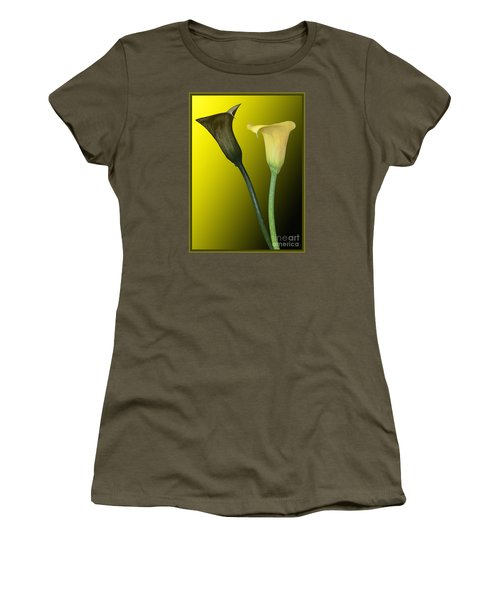 Women's T-Shirt (Junior Cut) featuring the photograph Cala Lilies Opposites by Shirley Mangini