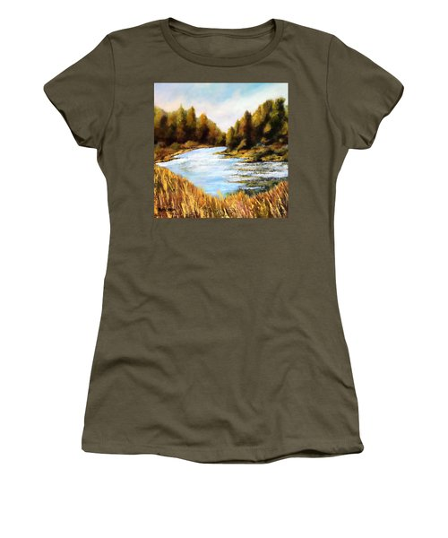 Women's T-Shirt (Junior Cut) featuring the painting Calapooia River by Marti Green
