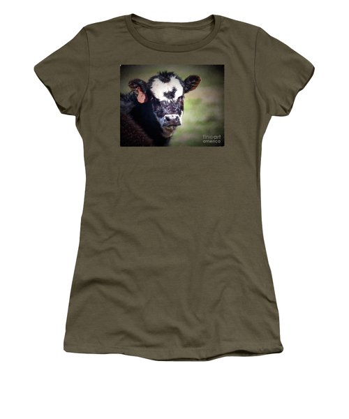 Women's T-Shirt (Junior Cut) featuring the photograph Calf Number 444 by Laurinda Bowling