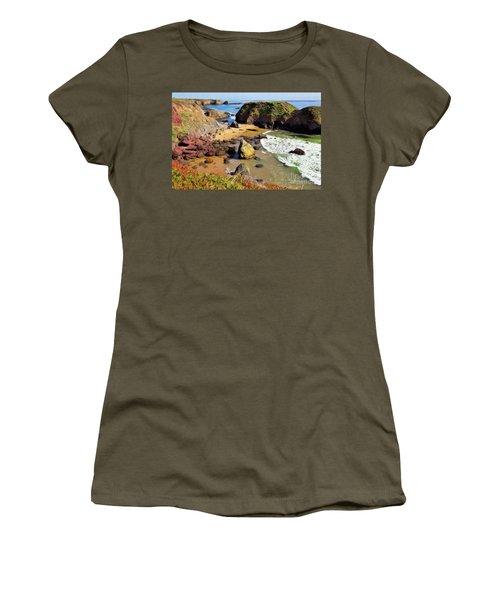 California Coast Rocks Cliffs Iceplant Ap Women's T-Shirt (Junior Cut)