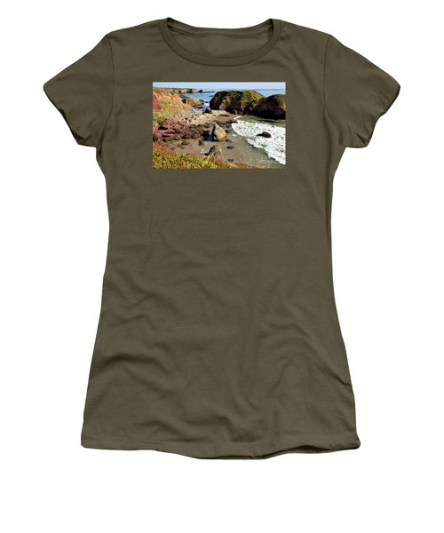 California Coast Rocks Cliffs Iceplant Women's T-Shirt (Junior Cut) by Dan Carmichael