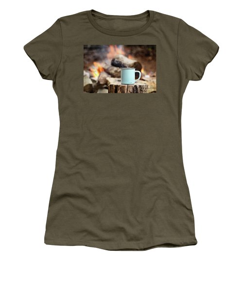 Women's T-Shirt (Junior Cut) featuring the photograph Campfire Coffee by Stephanie Frey