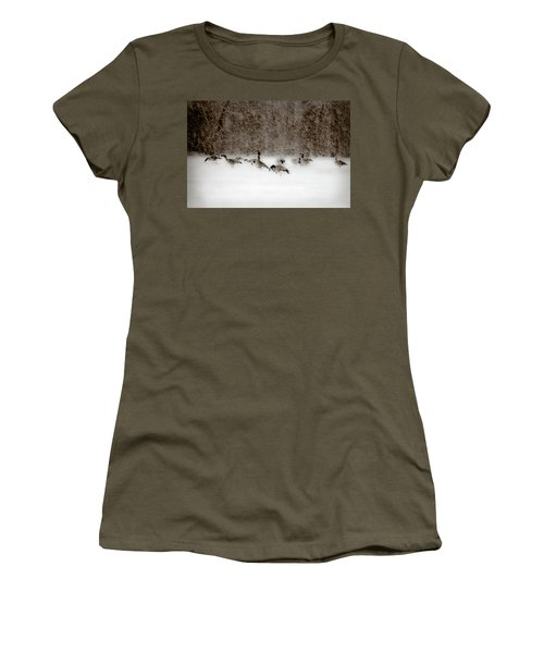 Canada Geese Feeding In Winter Women's T-Shirt