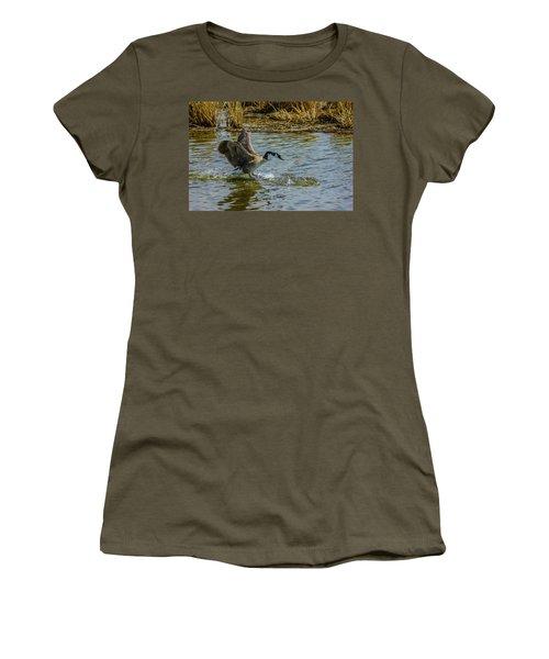Canada Goose Takes Flight, Frank Lake, Alberta, Canada Women's T-Shirt