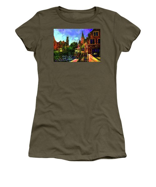 Canal In Bruges Women's T-Shirt (Junior Cut) by DC Langer