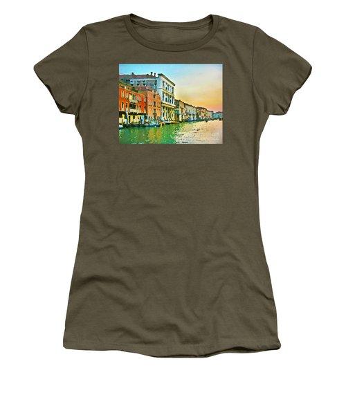 Canal Sunset - Venice Women's T-Shirt (Junior Cut) by Tom Cameron