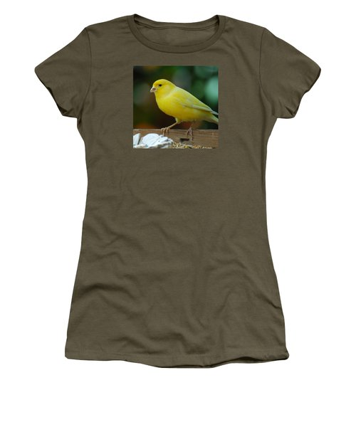 Women's T-Shirt (Junior Cut) featuring the photograph Canary Domesticated by Ramona Whiteaker