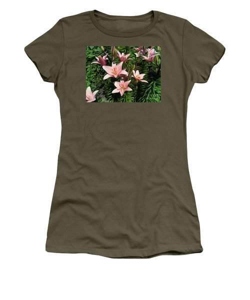 Candy-striped Day Lilies Women's T-Shirt