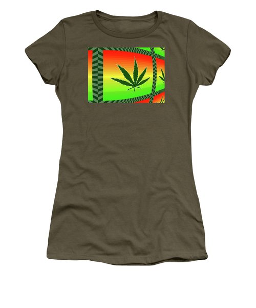 Women's T-Shirt (Junior Cut) featuring the mixed media Cannabis  by Dan Sproul
