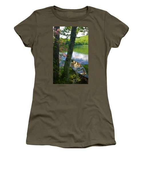 Canoe On Pond Women's T-Shirt (Athletic Fit)