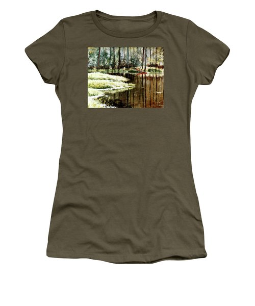 Canoe On Pond Women's T-Shirt