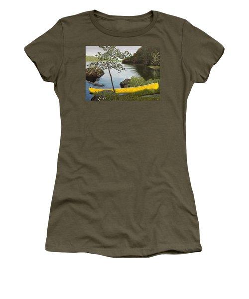 Canoe On The Bay Women's T-Shirt (Junior Cut) by Kenneth M  Kirsch
