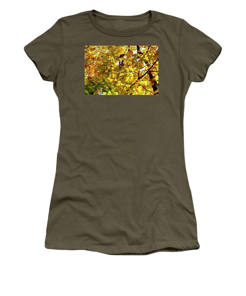 Women's T-Shirt featuring the photograph Canopy Of Autumn Leaves  by Angie Tirado