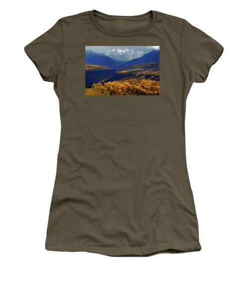 Women's T-Shirt (Junior Cut) featuring the photograph Canyon Shadows And Light From Last Dollar Road In Colorado During Autumn by Jetson Nguyen