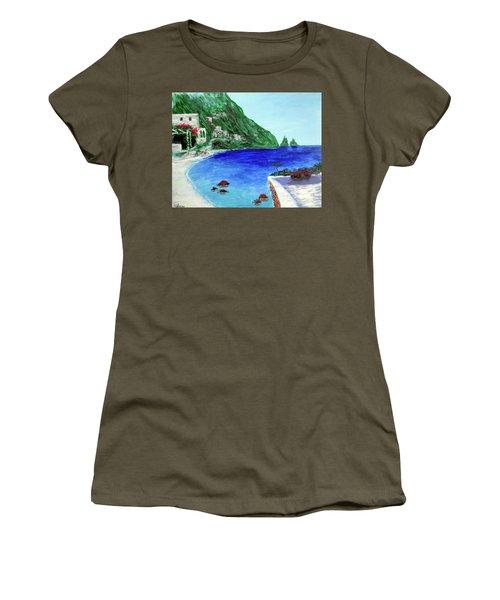 Women's T-Shirt (Junior Cut) featuring the painting  Capri by Larry Cirigliano
