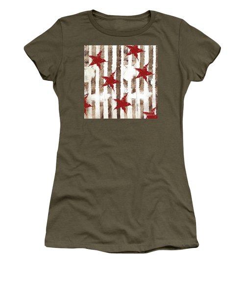 Cardinal Holiday Burlap Star Pattern Women's T-Shirt