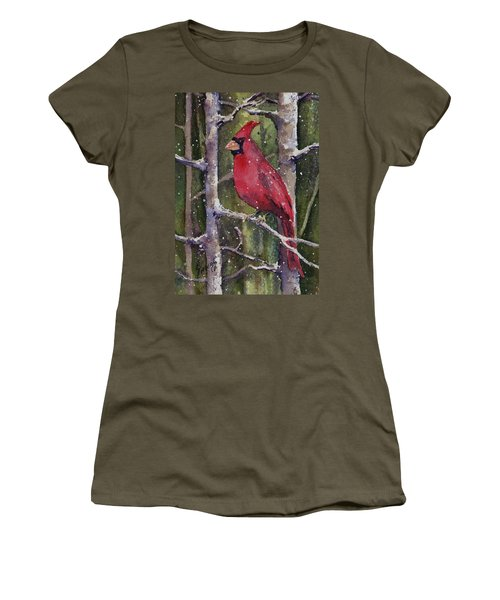 Women's T-Shirt featuring the painting Cardinal by Sam Sidders