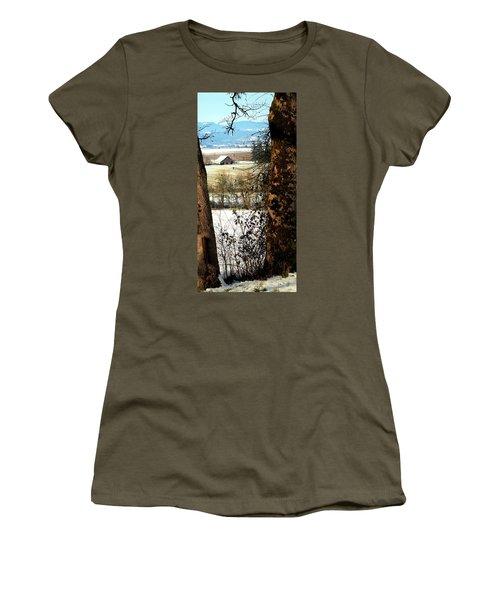 Carlton Barn Women's T-Shirt (Junior Cut) by Jerry Sodorff
