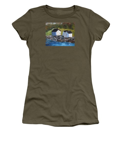 Women's T-Shirt (Junior Cut) featuring the painting Casco Bay Boat Houses by Michael Helfen