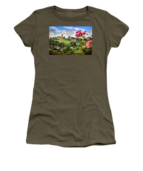 Castle And Roses In Firenze Women's T-Shirt