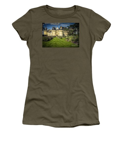 Women's T-Shirt (Junior Cut) featuring the photograph Castle Chaumont With Garden by Heiko Koehrer-Wagner