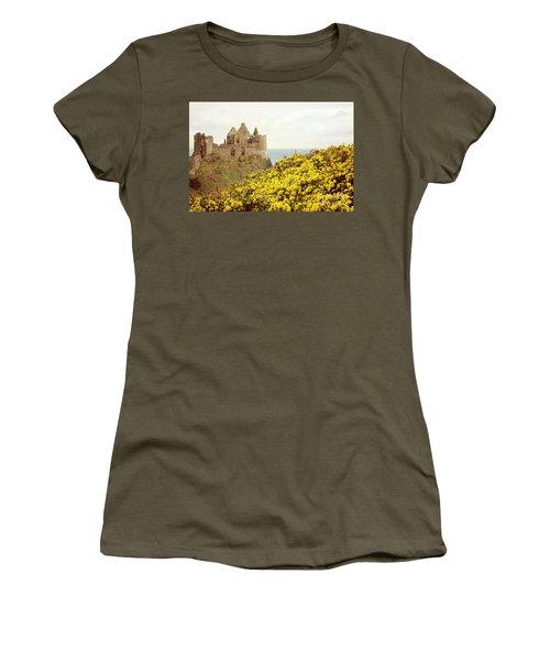 Women's T-Shirt (Junior Cut) featuring the photograph Castle Ruins And Yellow Wildflowers Along The Irish Coast by Juli Scalzi