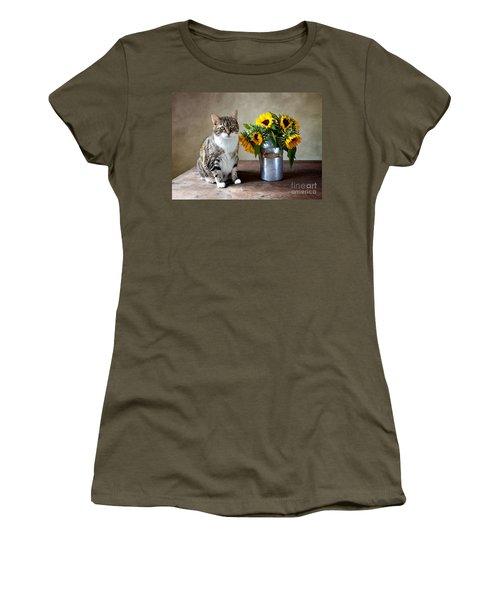 Cat And Sunflowers Women's T-Shirt