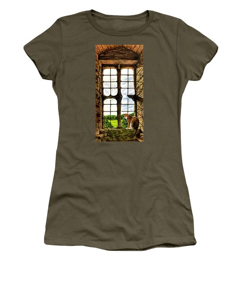 Cat In The Castle Window Women's T-Shirt (Athletic Fit)