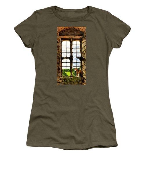 Cat In The Castle Window Women's T-Shirt (Athletic Fit)