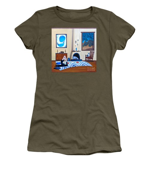 Cat Sitting In Chair Watching Woman Doing Yoga Women's T-Shirt (Athletic Fit)