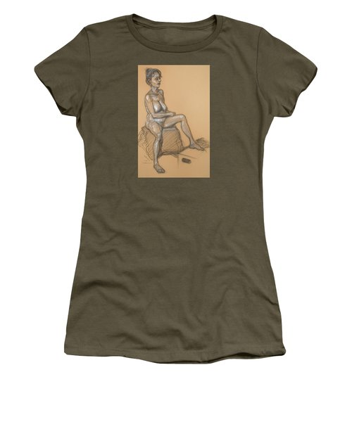 Women's T-Shirt (Junior Cut) featuring the drawing Catherine Seated by Donelli  DiMaria