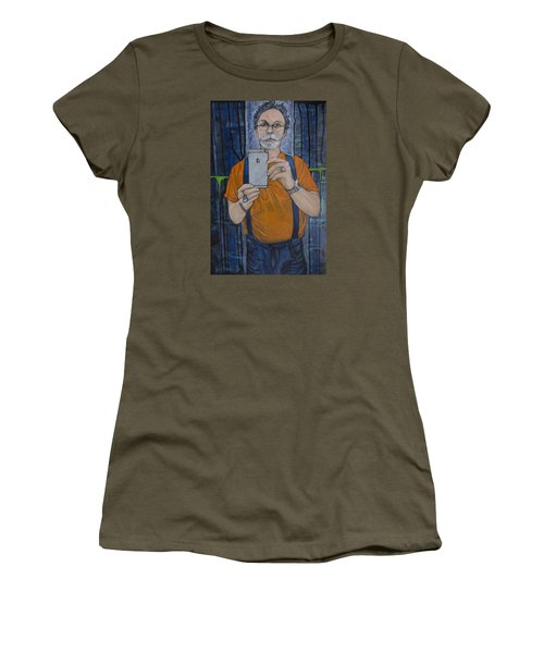 Women's T-Shirt (Junior Cut) featuring the painting Caught In The Act Of Growing Old Self Portrait by Ron Richard Baviello