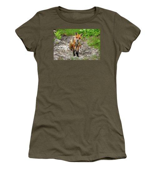 Cautious But Curious Red Fox Portrait Women's T-Shirt (Junior Cut) by Debbie Oppermann