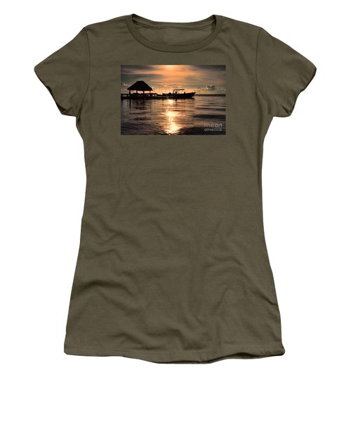 Women's T-Shirt (Junior Cut) featuring the photograph Caye Caulker At Sunset by Lawrence Burry