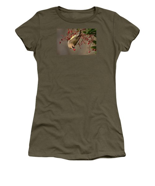 Cedar Waxwing With Toyon Berry Women's T-Shirt (Athletic Fit)