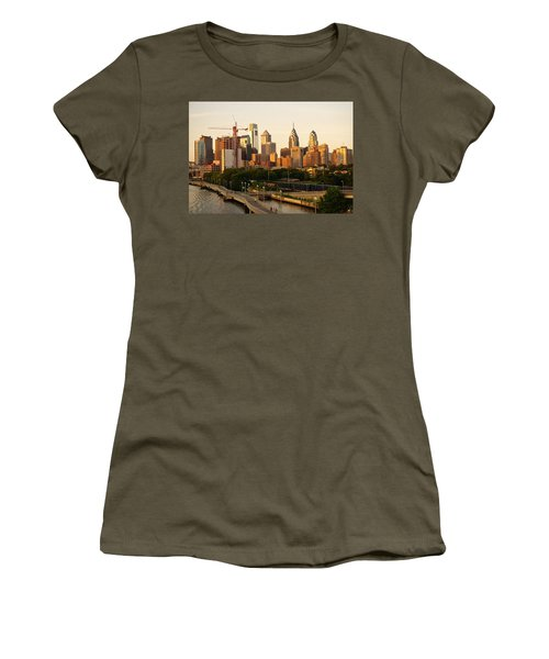 Women's T-Shirt (Athletic Fit) featuring the photograph Center City Philadelphia by Ed Sweeney
