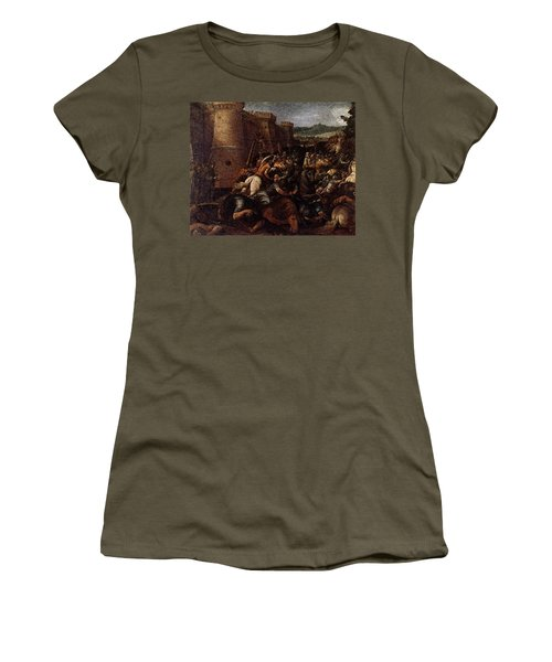 Cesari Giuseppe St Clare With The Scene Of The Siege Of Assisi Women's T-Shirt (Athletic Fit)
