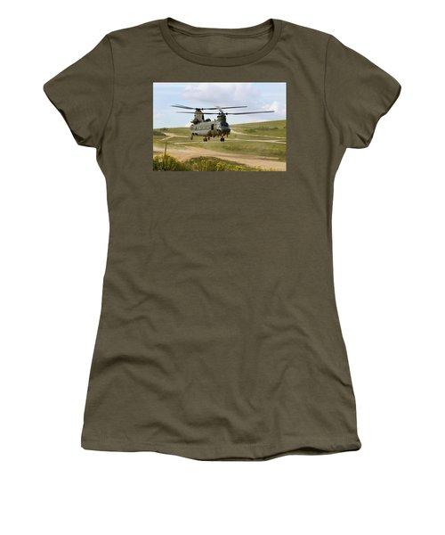 Ch47 Chinook In The Dust Bowl Women's T-Shirt (Junior Cut) by Ken Brannen