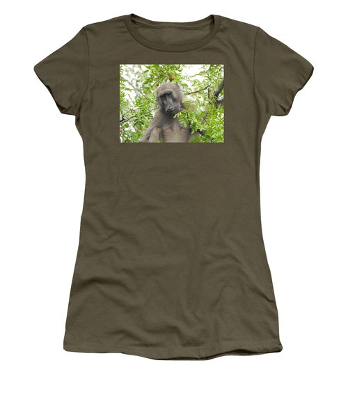 Chacma Baboon Women's T-Shirt (Junior Cut) by Betty-Anne McDonald