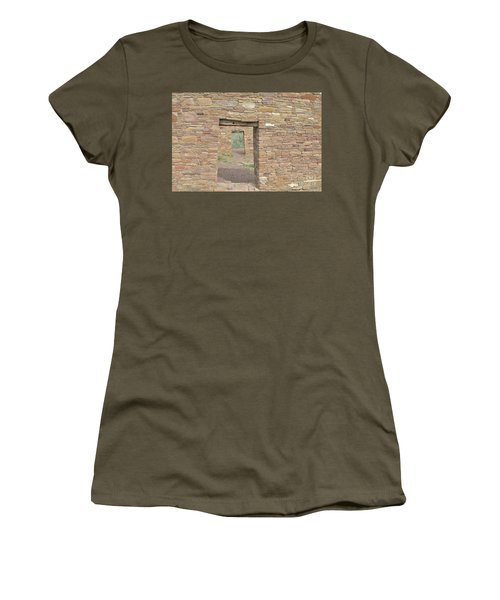 Women's T-Shirt (Junior Cut) featuring the photograph Chaco Canyon Doors by Debby Pueschel