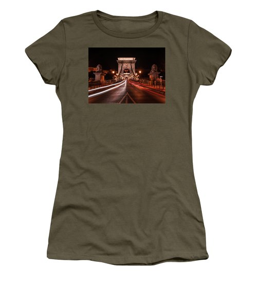 Chain Bridge At Midnight Women's T-Shirt (Junior Cut) by Jaroslaw Blaminsky